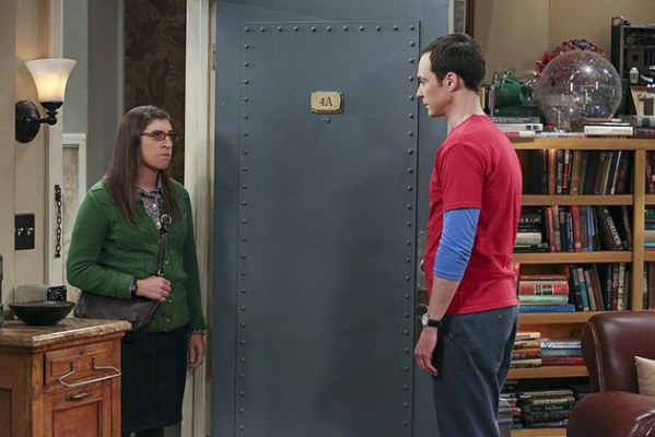 """The Separation Oscillation"" -- Sheldon (Jim Parsons, right) films a special episode of ""Fun with Flags"" after his breakup with Amy (Mayim Bialik, left), on THE BIG BANG THEORY, Monday, Sept. 28 (8:00-8:31 PM, ET/PT), on the CBS Television Network. Photo: Michael Yarish/Warner Bros. Entertainment Inc. © 2015 WBEI. All rights reserved."